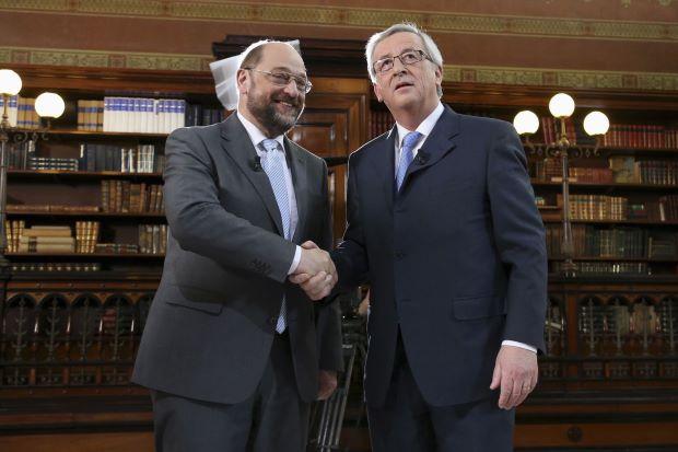 Martin Schulz and Jean-Claude Juncker at first TV debate
