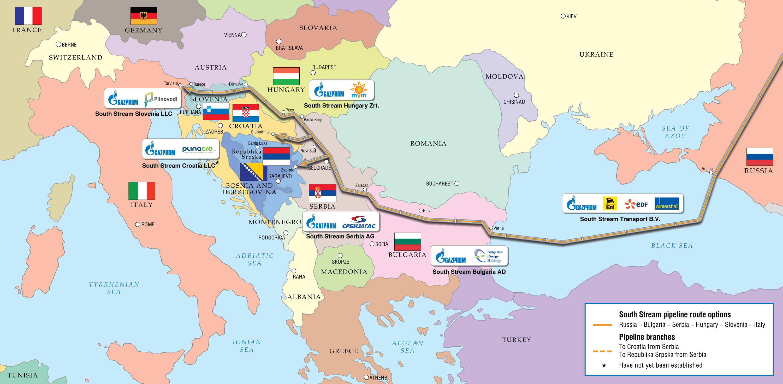 South Stream map