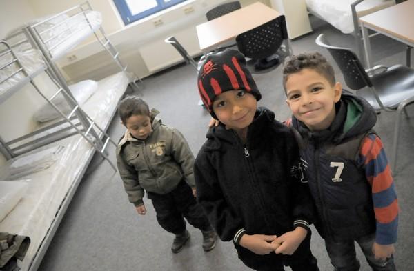 Trois enfants syriens à Francfort/Oder