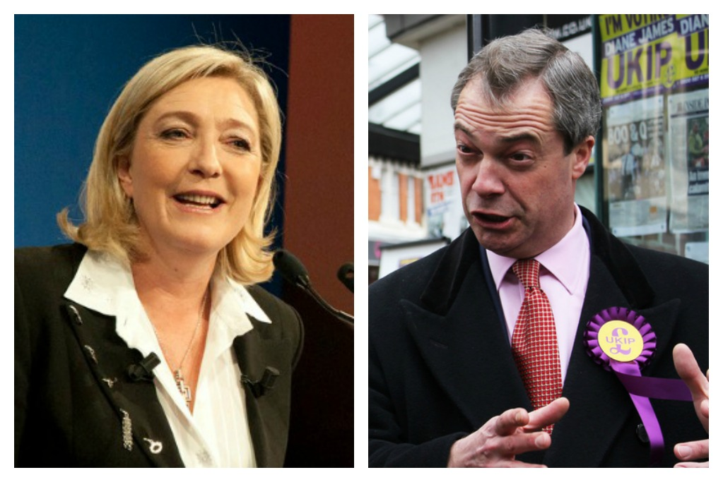 Marine Le Pen & Nigel Farage [Global Panorama/Flickr; European Parliament/Flickr]