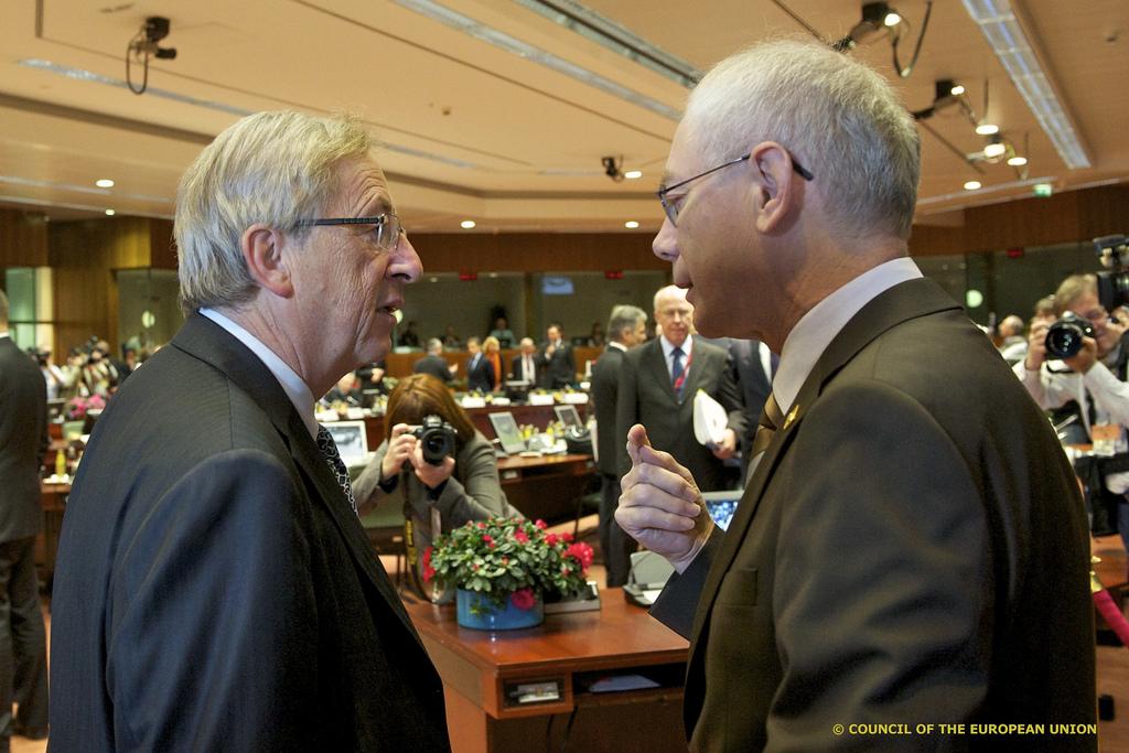 Jean-Claude Juncker (left) and Herman Van Rompuy ahead of a EU Summit [President of the European Council/Flickr]