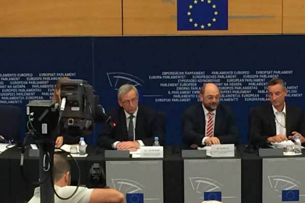 Jean-Claude Juncker au Parlement européen, après son élection à la tête de la Commission européenne - 15 juillet 2014 - © EURACTIV.fr