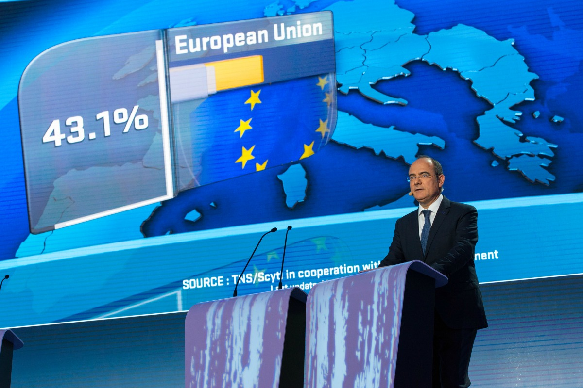 Jaume Duch, spokesperson to the European Parliament announces the elections turnout on May 25, 2014 [Photo: European Parliament]