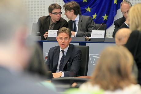 Ex-Finnish Prime Minister Jyrki Katainen, in the European Parliament. [EP]