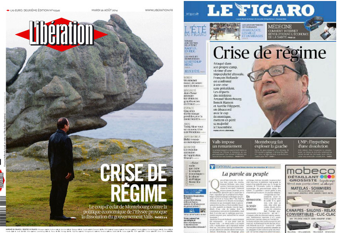 Les titres identiques de Libération et du Figaro au lendemain de la démission du gouvernement. © Libération et Le Figaro
