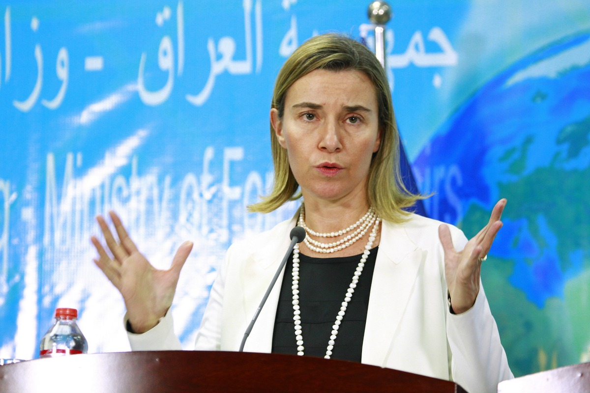 Federica Mogherini, Haute Représentante de l'UE pour les affaires extérieures, lors d'une visite en Irak. Décembre 2014.