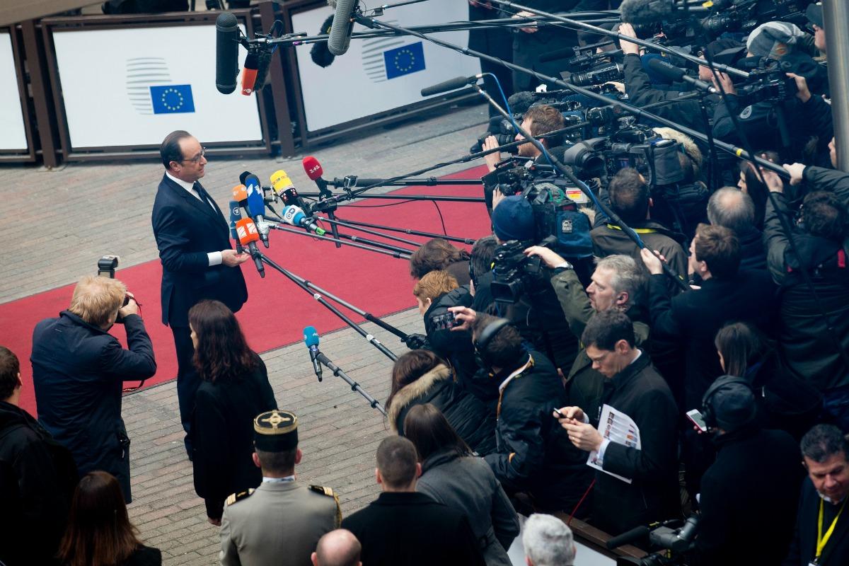 Le Président François Hollande arrive au Sommet européen à Bruxelles le 12 Février