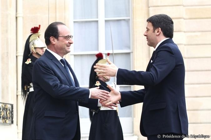 Matteo Renzi et François Hollande au Sommet franco-italien le 24 février - ©Présidence de la République