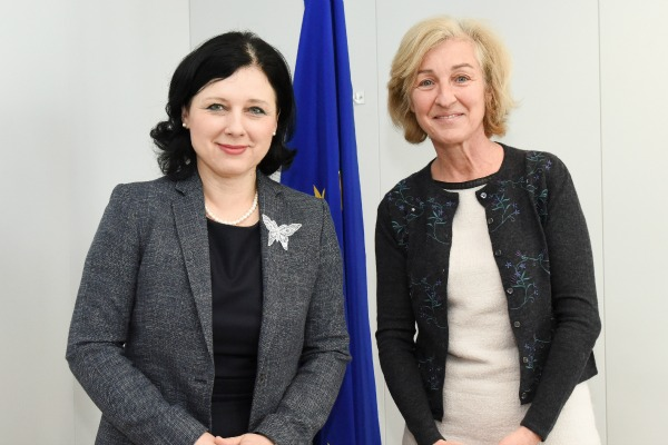 Isabelle Falque-Pierrotin, chair of the Article 29 working party and head of French data protection authority CNIL, with EU Justice Commissioner Vera Jourova
