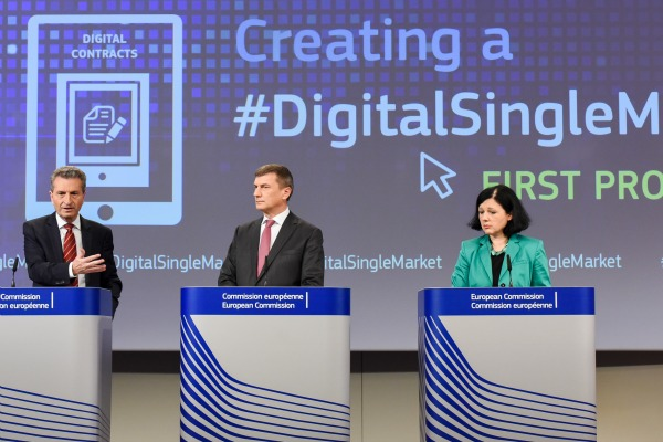 EU Digital Commissioner Günther Oettinger, Vice President Andrus Ansip and Justice Commissioner Vera Jourova