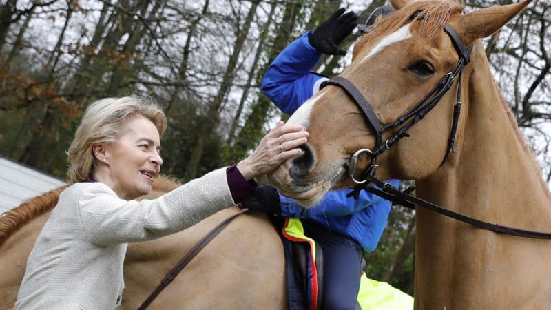 Ursula von der Leyen caressant un cheval à Bazoches-sur-Guyonne, dans les Yvelines France, 30 January 2020. EPA-EFE/THOMAS SAMSON / POOL MAXPPP OUT