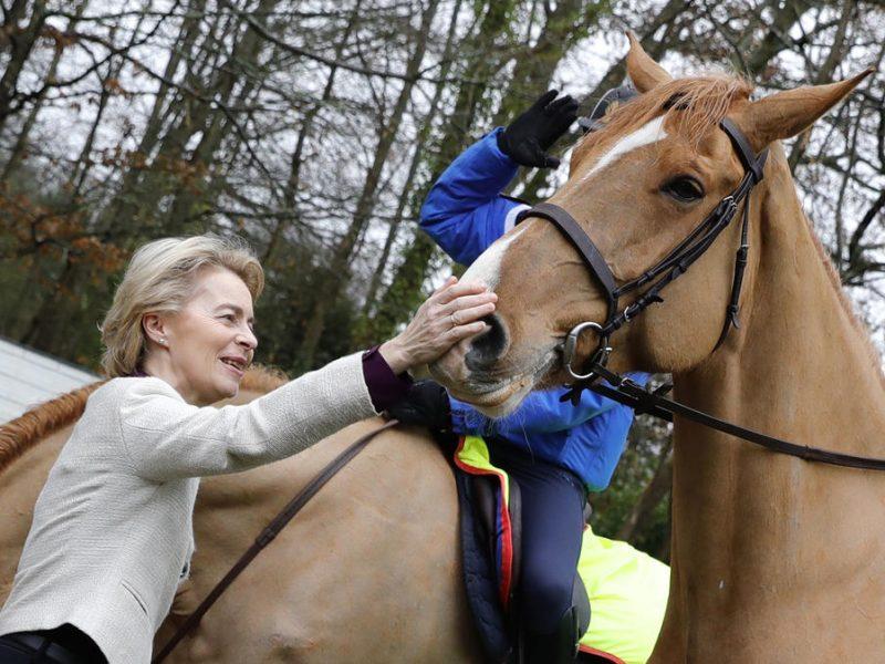 Ursula von der Leyen caressant un cheval à Bazoches-sur-Guyonne, dans les Yvelines France, 30 January 2020. EPA-EFE/THOMAS SAMSON / POOL MAXPPP OUT